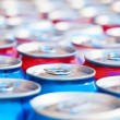 Stock Photo: Many cans with refreshing drinks