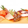 Sashimi set isolated on white — Stock Photo