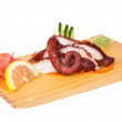 Sashimi with octopus isolated on white - Stock Photo
