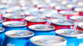Many cans with refreshing drinks — Stok fotoğraf