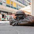 Bronze sculpture called man at work, Bratislava, Slovakia — Stock Photo #31124891