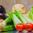 Fresh vegetables on the kitchen table — Stock Photo