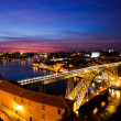 Bridge of Luis I at night over Douro river and Porto, Portugal  — Stock Photo