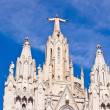 Temple on mountain top - Tibidabo in Barcelona city. Spain — Stock Photo
