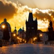 Sunrise over Prague - look from Charles (Karluv) bridge — Stock Photo