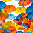 Street decorated with colored umbrellas. — Stock Photo