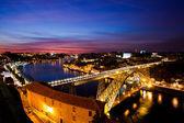 Bridge of Luis I at night over Douro river and Porto, Portugal — Stock Photo