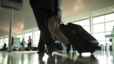 Passengers with luggage in the airport — Stock Video