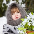 Little girl in a winter wood with the big basket of snowdrops — ストック写真