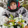 Little girl in a winter wood with the big basket of snowdrops — Stock Photo #37401197