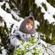 Little girl in a winter wood with the big basket of snowdrops — Stock Photo #37401285