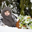 Little girl in a winter wood with the big basket — Stock Photo #37401291