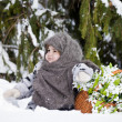 Little girl in a winter wood with the big basket — Stock Photo #37401297