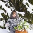 Little girl in a winter wood with the big basket — Stock Photo #37401315