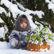 Little girl in a winter wood with the big basket — Stock Photo #37401317