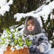 Little girl in a winter wood with the big basket — Stock Photo #37401327