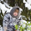 Stockfoto: Little girl in a winter wood with the big basket of snowdrops
