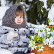 Little girl in a winter wood with the big basket of snowdrops — Stock Photo #37401345