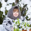 Little girl in a winter wood with the big basket of snowdrops — Stock Photo #37401367