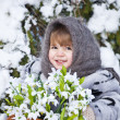 Little girl in a winter wood with the big basket of snowdrops — Stock Photo #37401369