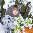 Little girl in a winter wood with the big basket of snowdrops — Stock Photo #37401383