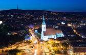 Night view on auto junction in Bratislava — Stockfoto