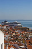 Panorama of old traditional city of Lisbon — Stock Photo