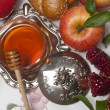 Honey,pomegranate  with apple for Rosh Hashana - Stock Photo