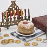 Hanukkah menorah with candles — Stock Photo #14131576
