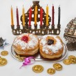 Hanukkah menorah with candles — Stock Photo #14131640