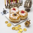 Hanukkah menorah with  candles — Stock fotografie