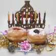 Hanukkah menorah with candles — Stock Photo #14131669