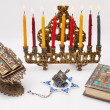 Hanukkah menorah with  candles — Photo