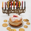 Hanukkah menorah with candles — Stock Photo #14131684