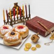 Hanukkah menorah with  candles — Stock Photo