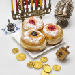 Hanukkah menorah with candles — Stock Photo #14131695