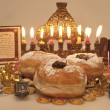 Hanukkah menorah with candles — Stock Photo #14131714