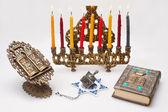 Hanukkah menorah med ljus — Stockfoto