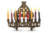 Hanukkah menorah mumlar ile — Stok fotoğraf