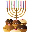 Stock Vector: Hanukkah menorah with candles