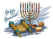 Menorah di hanukkah con candele — Vettoriale Stock