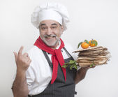 Smiling chef with matzot — Stock Photo