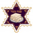 Matza bread for passover celebration - Stok Vektör