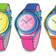 Stock Vector: Vector set of colourful watch