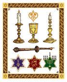 Set vettoriale di judaica — Vettoriale Stock