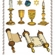 Vector set of judaica — Stock Vector