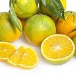 Fresh orange fruit with leaf — Stock Photo