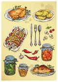 Set of hand drawn food — Stock Vector