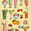 Stock Vector: Set of hand drawing alcohol coctails and fruit