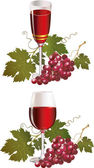 Glass with red wine and ripe grape — Stock Vector